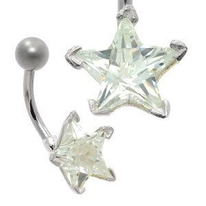 Large CZ Silver and Steel Belly Bar - Star