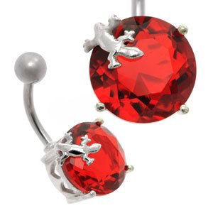 Large Jewel Silver and Steel Belly Bar - Red Lizard