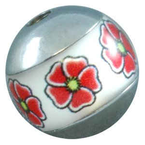 Titanium Meridian Threaded Ball - Flowers