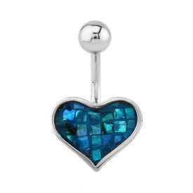 Mother Of Pearl Heart Bananabell - Mosaic Blue Zircon