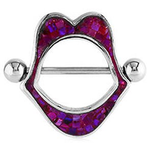 Mother Of Pearl Nipple Shield - Lip Mosaic Purple