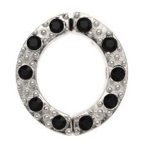 Non Piercing Sterling Silver Nipple Clamp - Black Jewelled