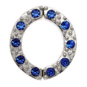 Non Piercing Sterling Silver Nipple Clamp - Blue Jewelled