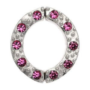 Non Piercing Sterling Silver Nipple Clamp - Pink Jewelled