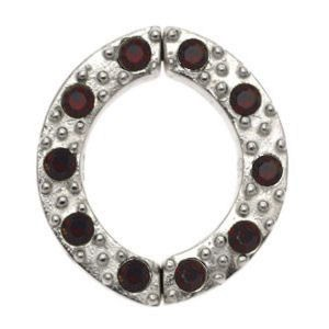 Non Piercing Sterling Silver Nipple Clamp - Red Jewelled