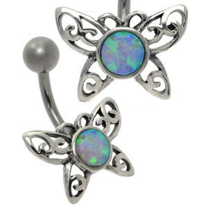 Opal Silver and Steel Belly Bar - Light Pink Butterfly