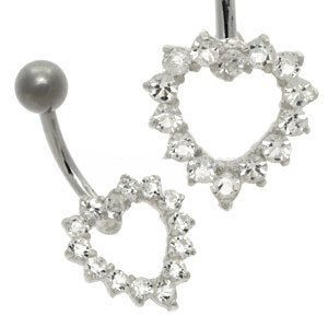 Open Crystal Heart Belly Bar - Clear