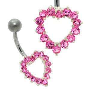 Open Crystal Heart Belly Bar - Pink