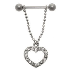 Open Heart Nipple Chain - Clear