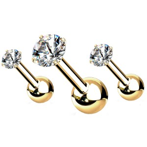 Pack of 3 Gold Plated Cartilage Barbells - Crystal