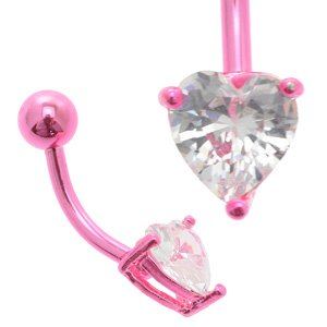 Pink Anodized Titanium Jewelled Heart Belly Bar