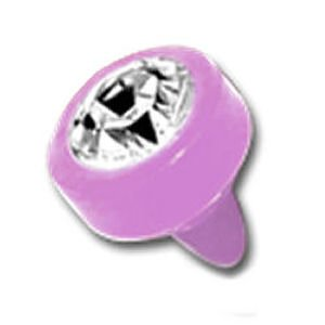 Pink BioFlex Jewelled Push-Fit Disc - Clear