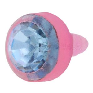 Pink BioFlex Jewelled Push-Fit Disc - Light Blue