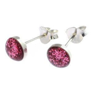 Pink Glitter Stud Earrings