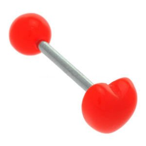 Plastic Heart Tongue Barbell - Red