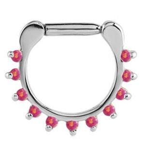 Prong Set Jewelled Septum Clicker Ring - Pink Opal