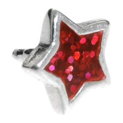 Silver Push-Fit Star - Red Glitter