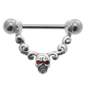 Jewelled Skull Sterling Silver and Steel Nipple Stirrup - Red