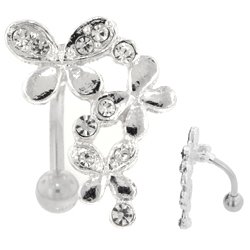 Jewelled Butterfly Reverse Belly Button Ring