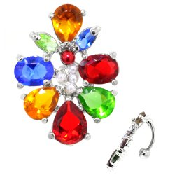 Reverse Belly Button Dangle (Rainbow Jewel Cluster)