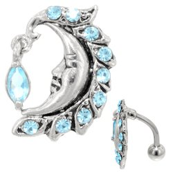Blue Moon Reverse Dangle Belly Button Ring
