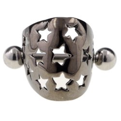 Rhodium Plated Steel Ear Cuff - Black Stars