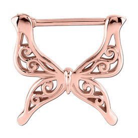 Rose Gold Butterfly Nipple Clicker Ring