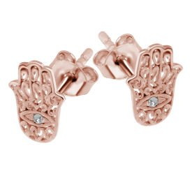 Rose Gold Crystal Jewelled Hamsa Hand Ear Stud