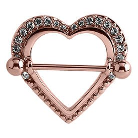 Rose Gold Crystal Jewelled Heart Nipple Shield
