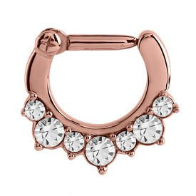Rose Gold Crystal Jewelled Hinged Clicker Ring
