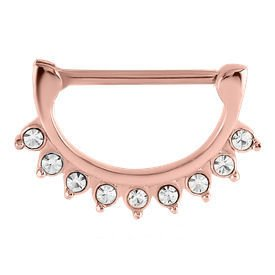Rose Gold Crystal Jewelled Nipple Clicker Ring