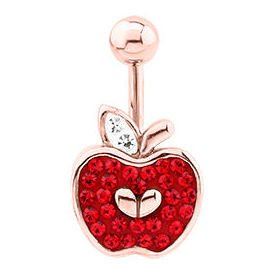 Rose Gold Crystalline Jewelled Navel Bananabell - Apple