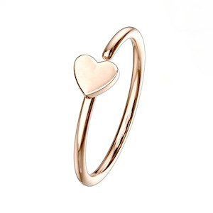 Rose Gold Heart Nose Ring