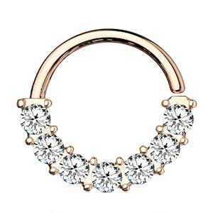 Rose Gold Jewelled Bendable Nose Ring - Clear