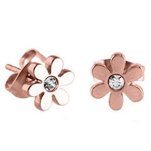 Rose Gold Jewelled Flower Earrings - Crystal