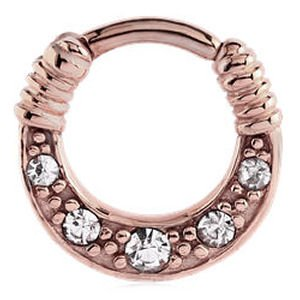Rose Gold Jewelled Hinged Septum Clicker Ring - Crystal