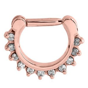 Rose Gold Jewelled Prong Set Hinged Septum Clicker Ring - Crystal