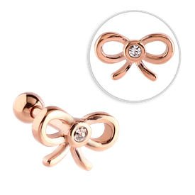 Rose Gold Jewelled Tragus Barbell Stud- Crystal Bow