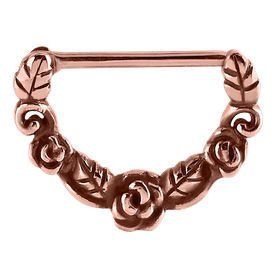 Rose Gold Nipple Clicker Ring - Roses