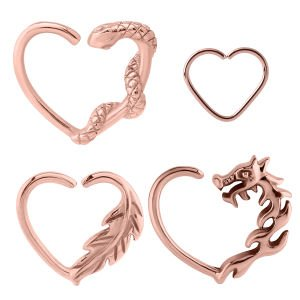 Rose Gold Open Heart Continuous Rings – Left Set