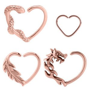 Rose Gold Open Heart Continuous Rings - Right Set