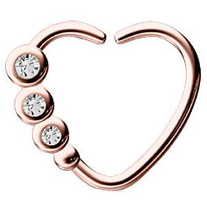 Rose Gold Open Heart Seamless Ring - Crystal