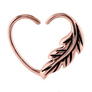 Rose Gold Open Heart Seamless Ring - Left Feather