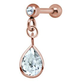 Rose Gold Pear Shaped Crystal Jewelled Tragus Bar Stud