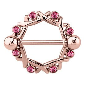 Rose Gold Pink Jewelled Nipple Shield