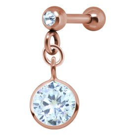 Rose Gold Round Crystal Jewelled Tragus Bar Stud