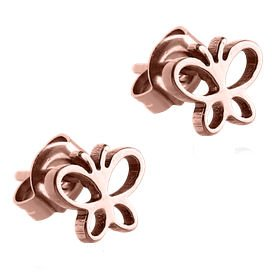 Rose Gold Surgical Steel Butterfly Ear Studs