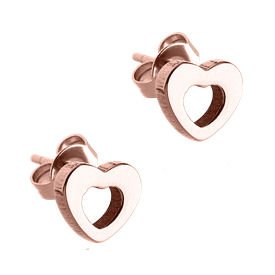 Rose Gold Surgical Steel Heart Ear Studs