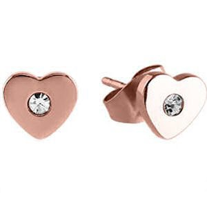 Heart Shaped Rose Gold Surgical Steel Jewelled Earrings