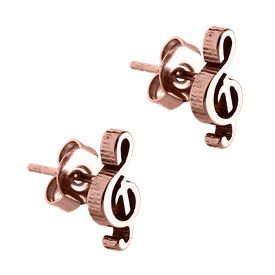 Rose Gold Surgical Steel Musical Note Ear Studs